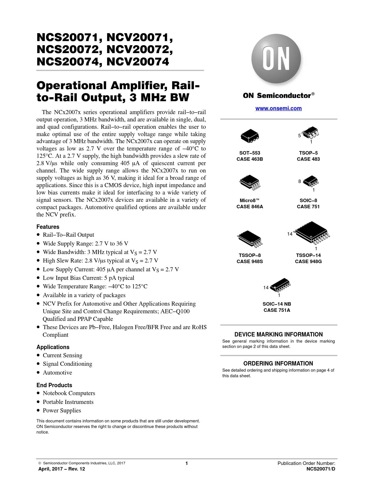 Datasheet NCS20071, NCV20071, NCS20072, NCV20072, NCS20074, NCV20074 ON Semiconductor, Revision: 14