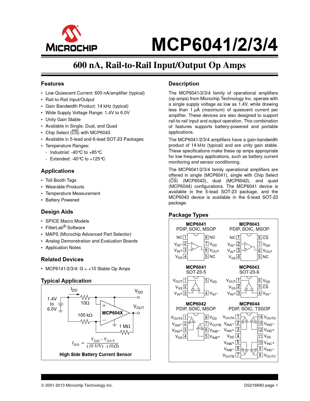 Datasheet MCP6041,  MCP6042,  MCP6043,  MCP6044 Microchip