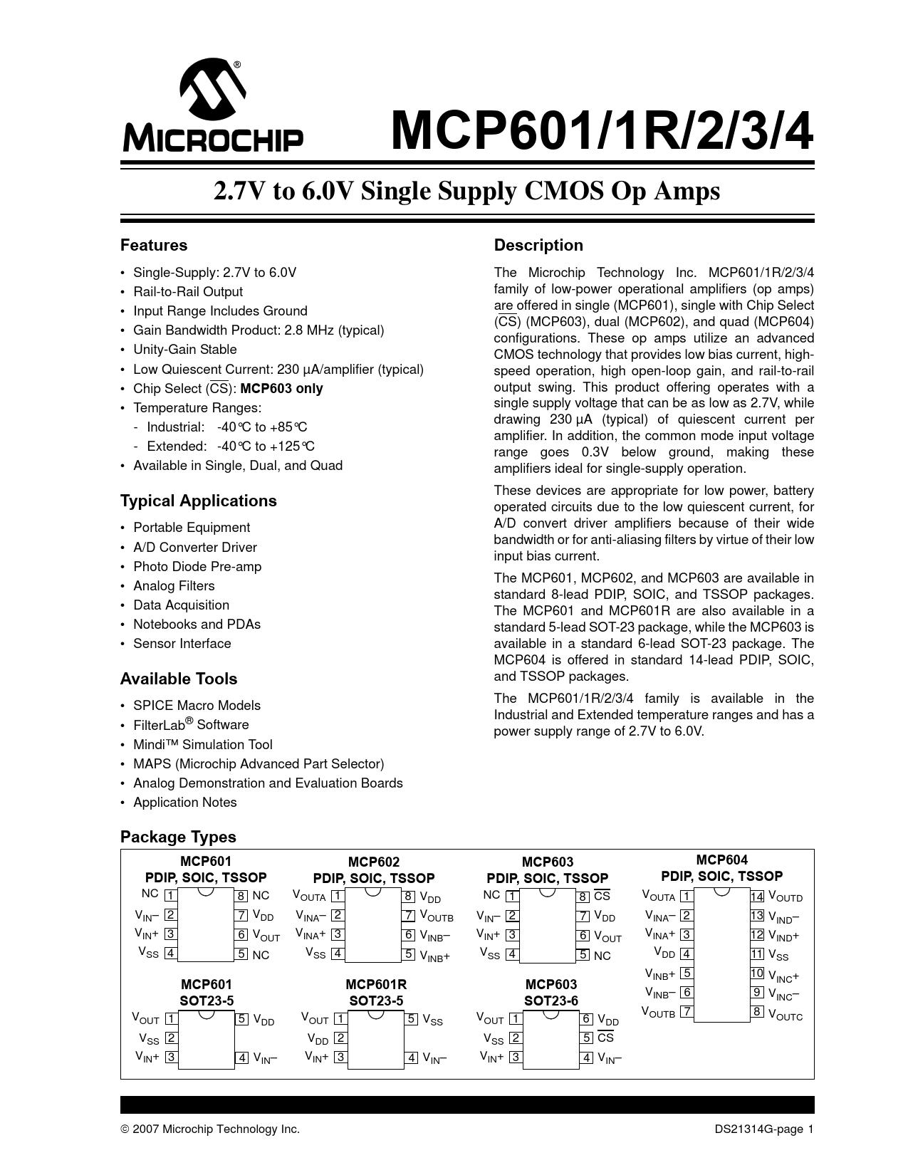 Datasheet MCP601, MCP601R, MCP602, MCP603, MCP604 Microchip
