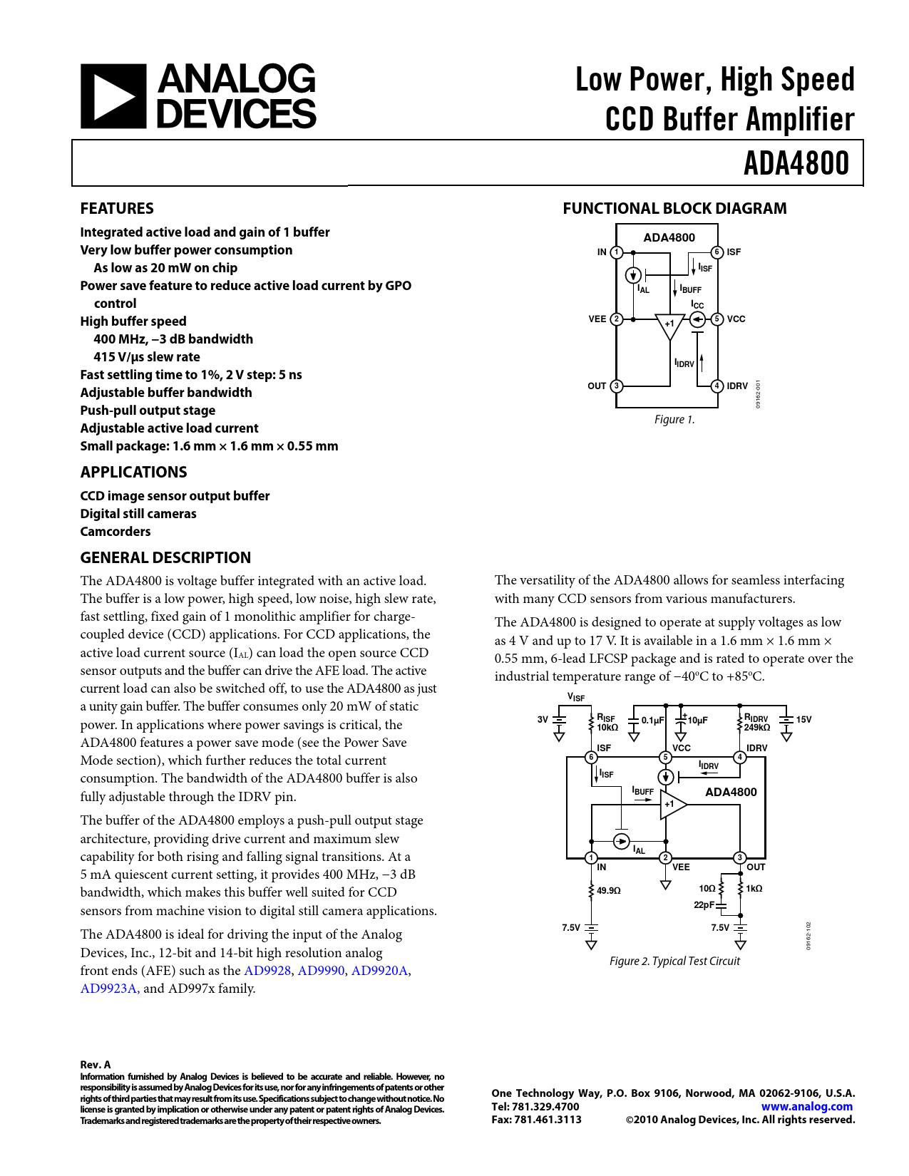 Datasheet ADA4800 Analog Devices, Версия: A