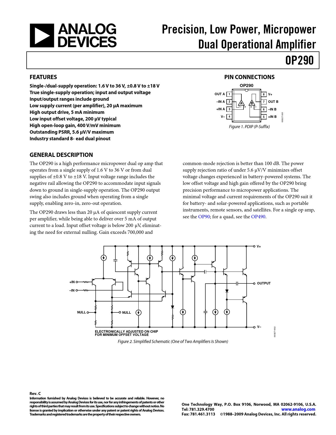 Datasheet OP290 Analog Devices, Версия: C