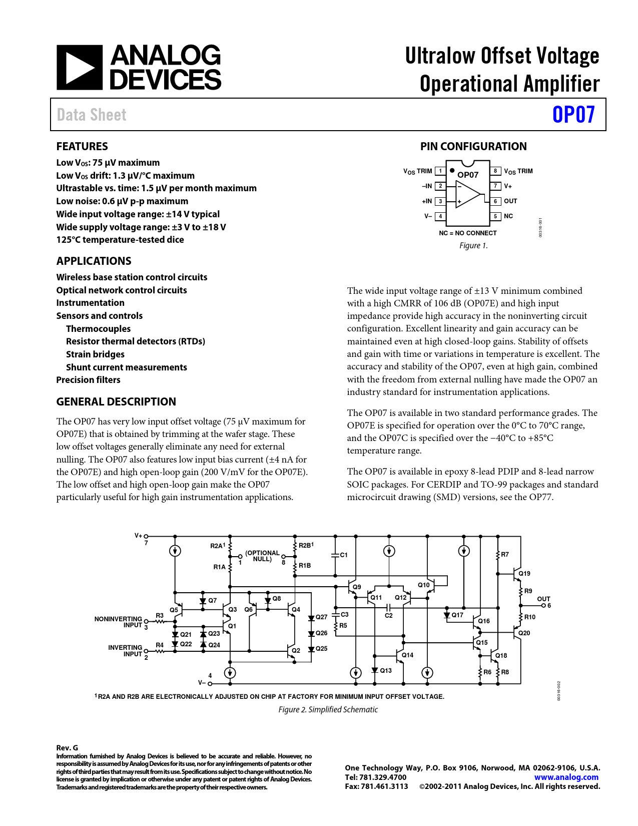 Datasheet OP07 Analog Devices, Версия: G