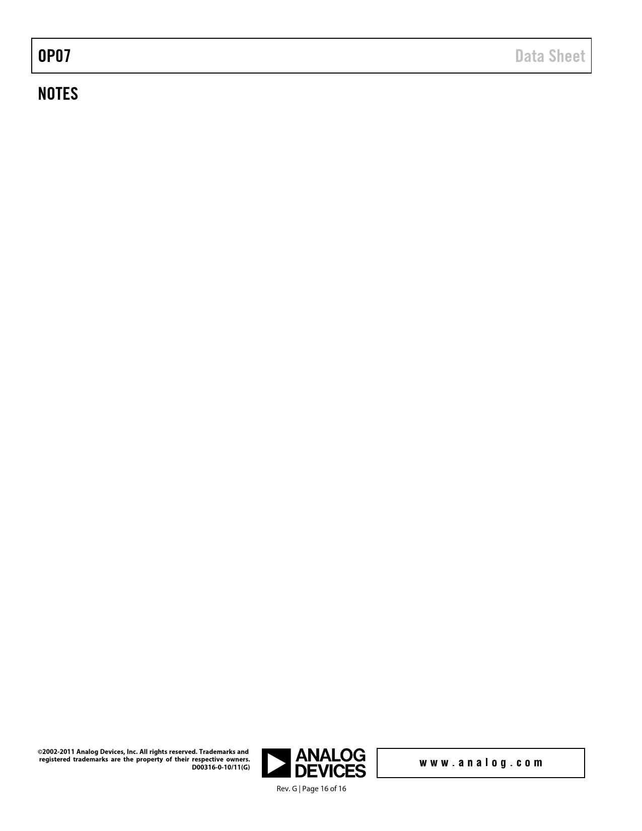 OP07 Data Sheet NOTES