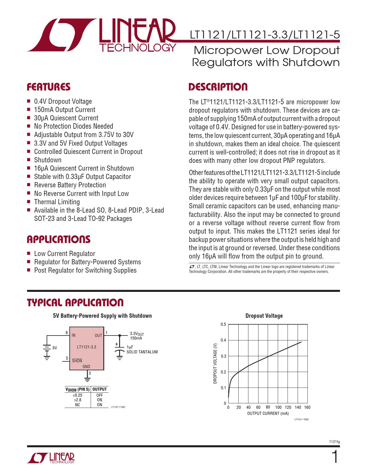 Datasheet LT1121, LT1121-3.3, LT1121-5 Analog Devices