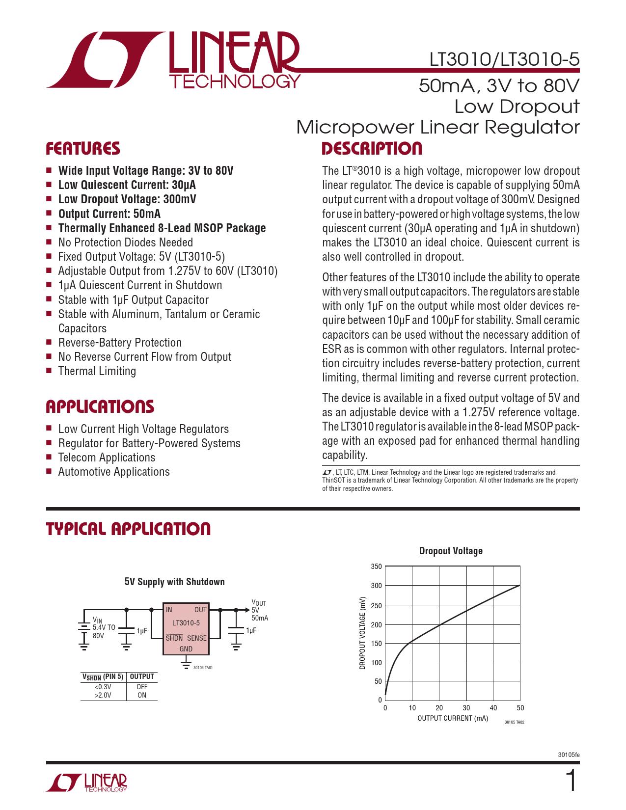 Datasheet LT3010, LT3010-5 Analog Devices