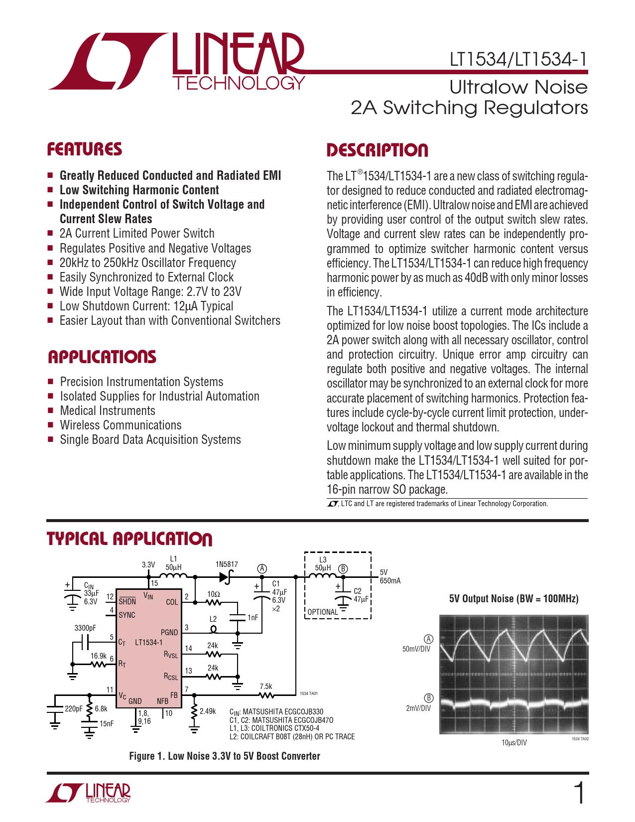 Datasheet LT1534 Analog Devices