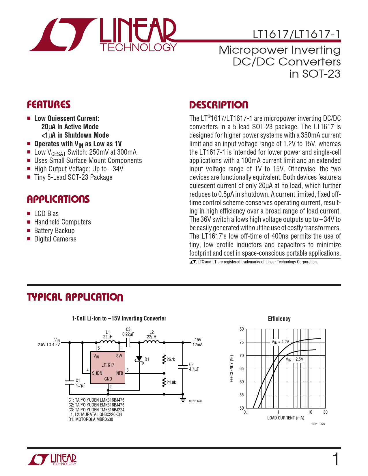 Datasheet LT1617, LT1617-1 Analog Devices