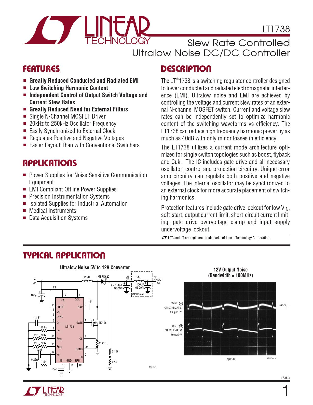 Datasheet LT1738 Analog Devices