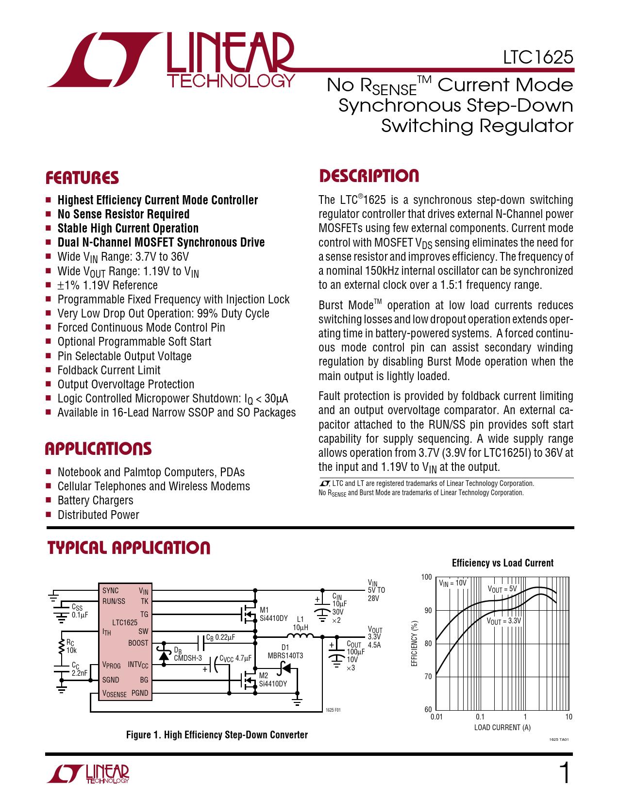 Datasheet LTC1625 Analog Devices