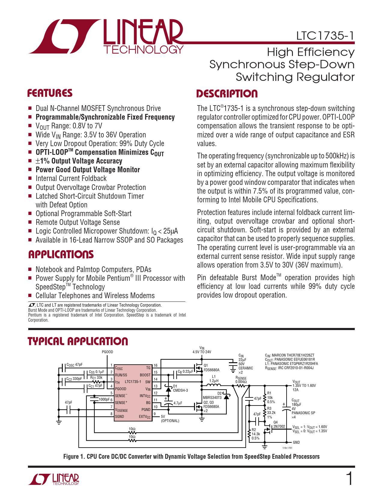 Datasheet LTC1735-1 Analog Devices