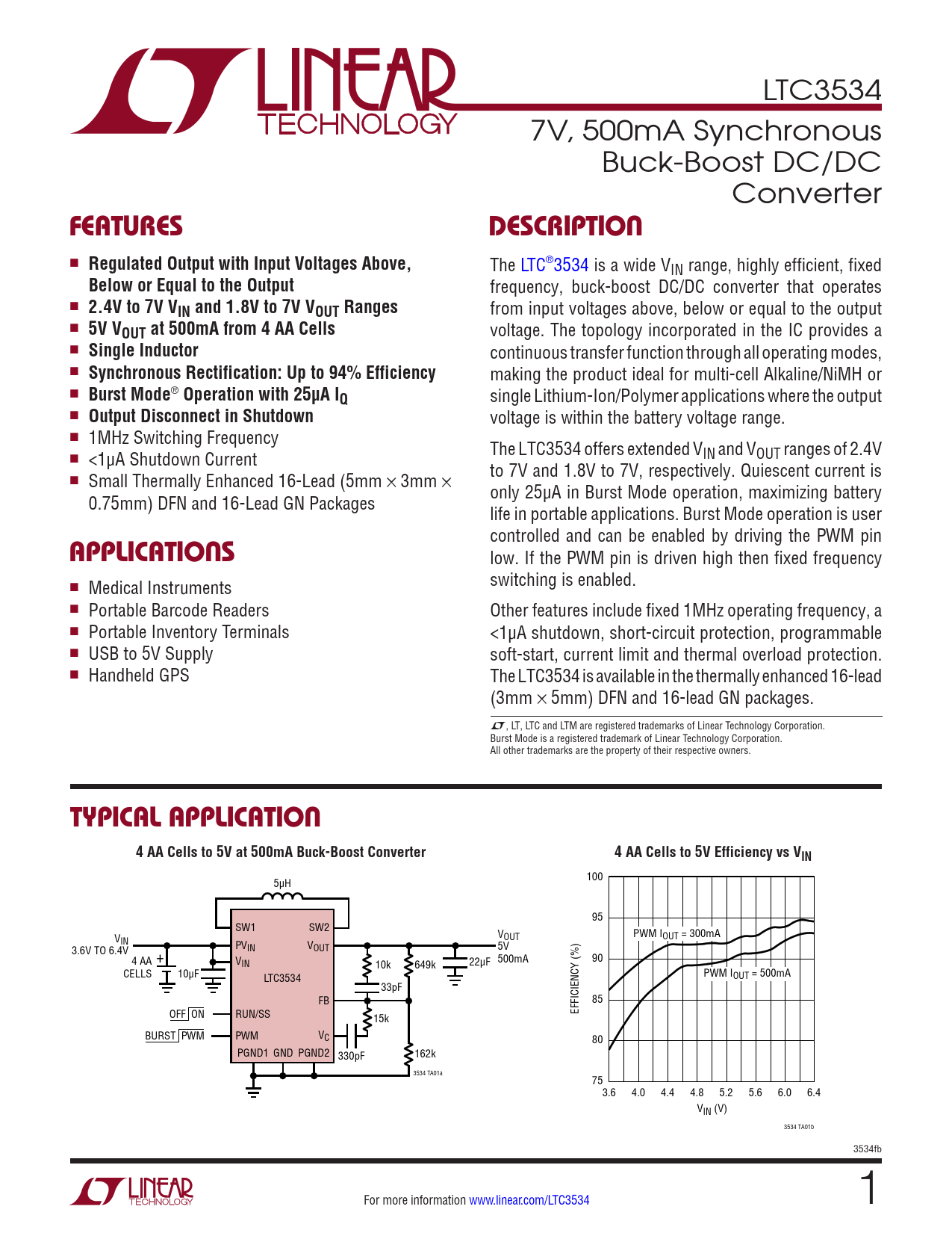 Datasheet LTC3534 Analog Devices