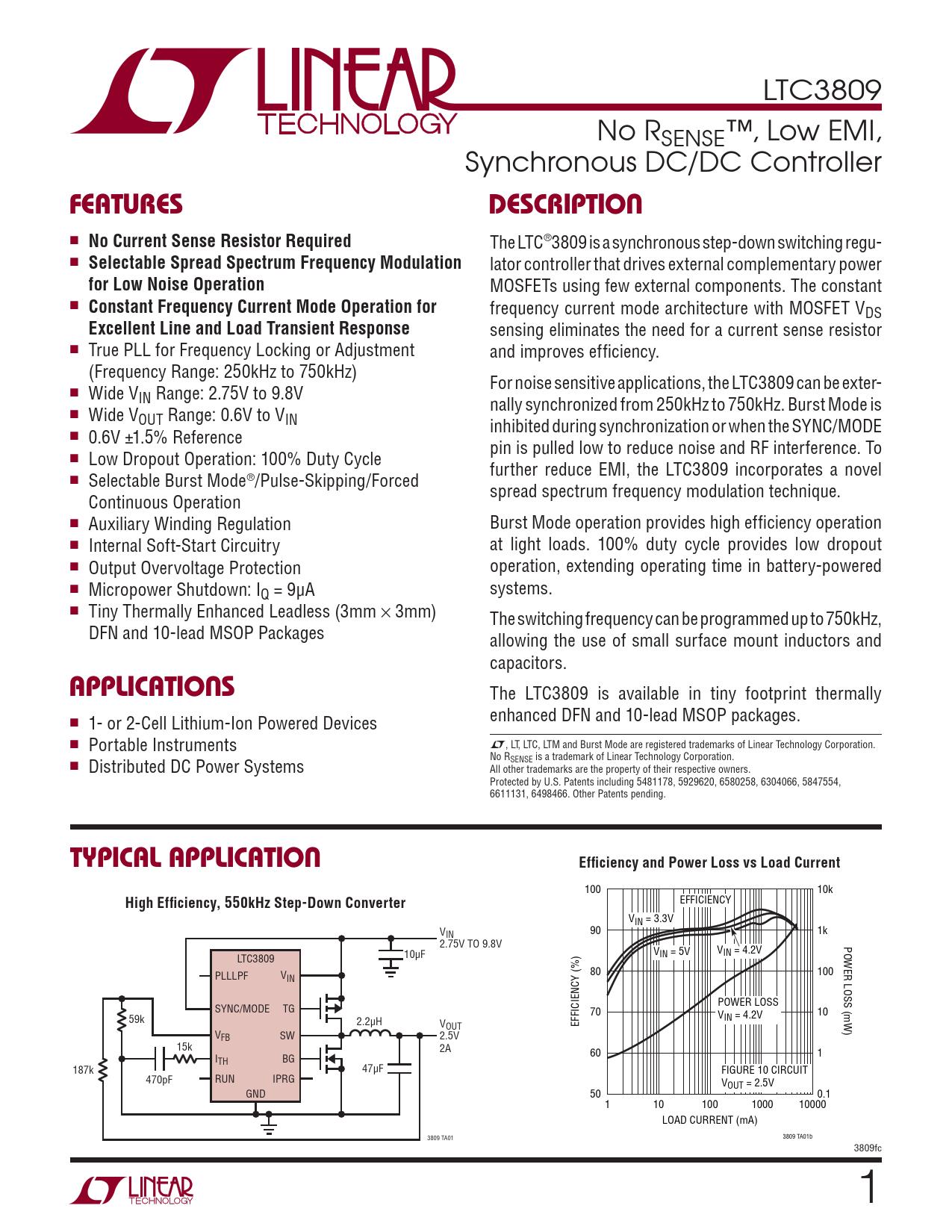 Datasheet LTC3809 Analog Devices