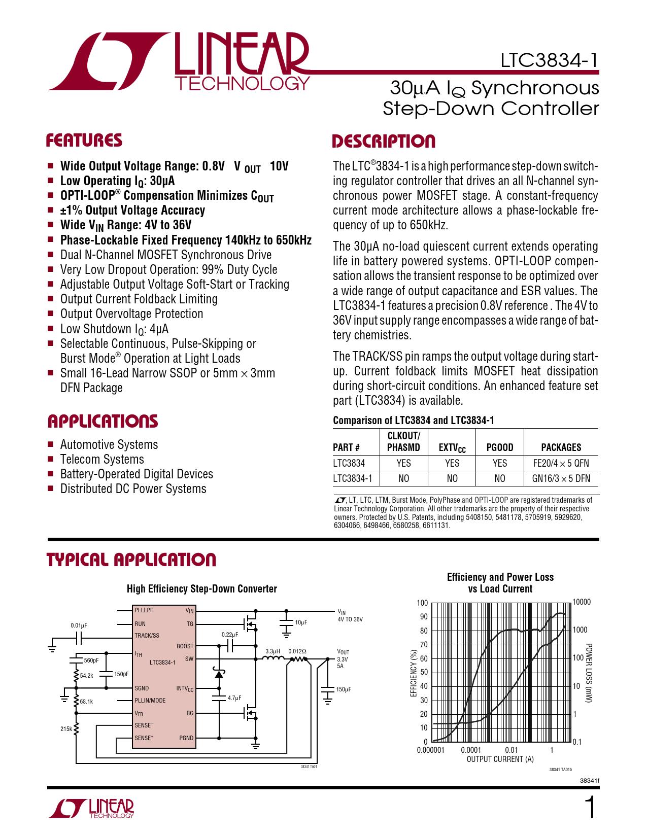 Datasheet LTC3834-1 Analog Devices