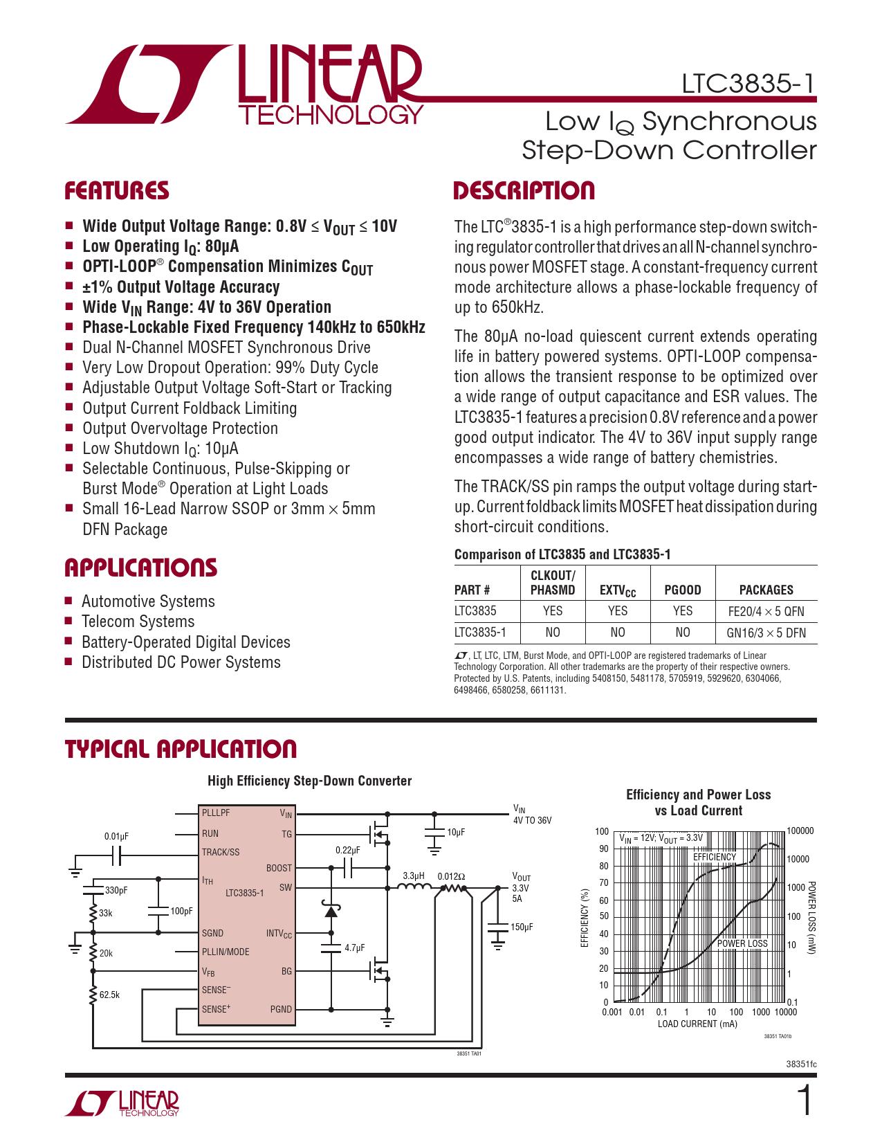 Datasheet LTC3835-1 Analog Devices