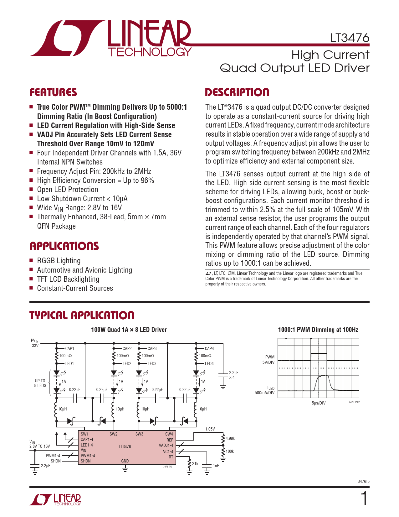 Datasheet LT3476 Analog Devices