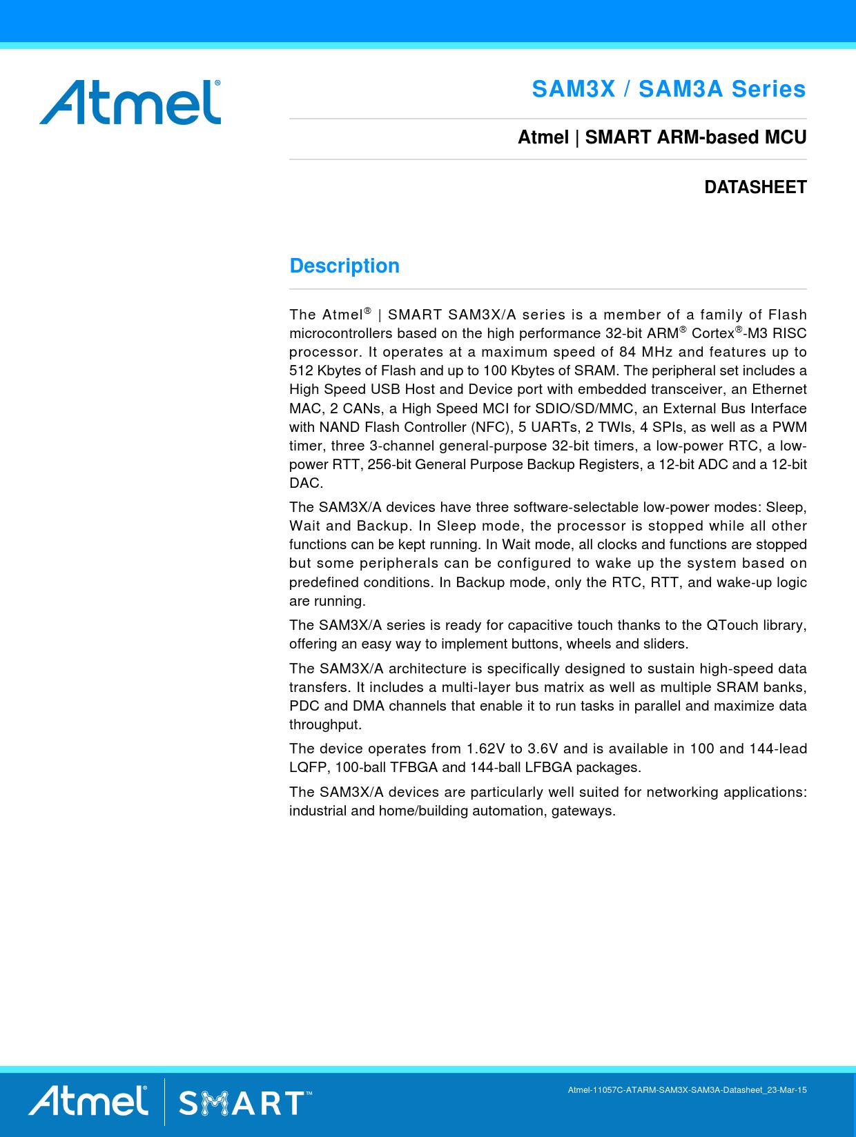 Datasheet SAM3X, SAM3A Series Microchip, Revision: 03-01-2015