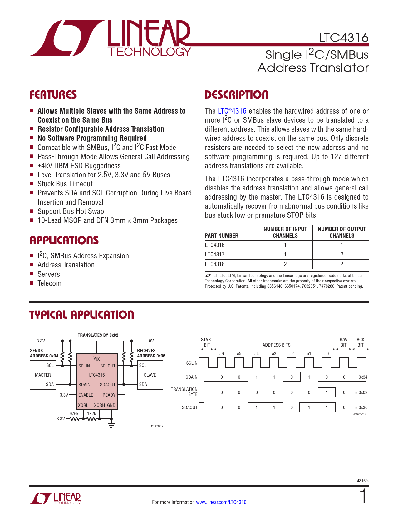 Datasheet LTC4316 Analog Devices