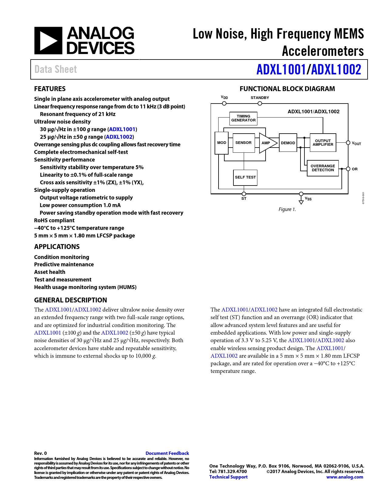 Datasheet ADXL1001, ADXL1002 Analog Devices