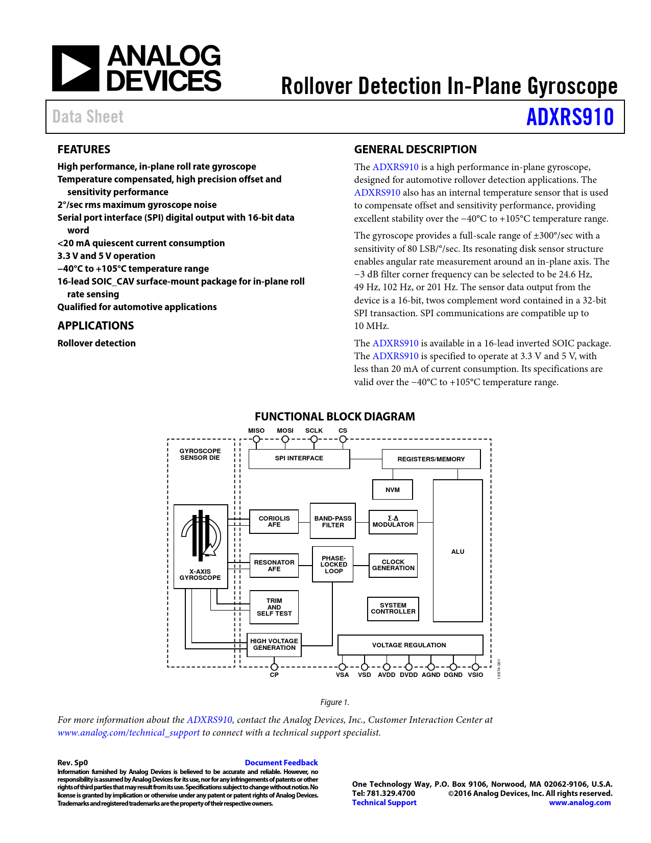 Datasheet ADXRS910 Analog Devices, Revision: Sp0
