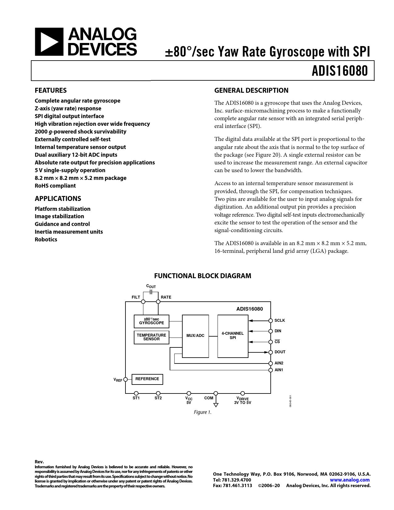 Datasheet ADIS16080 Analog Devices, Revision: C