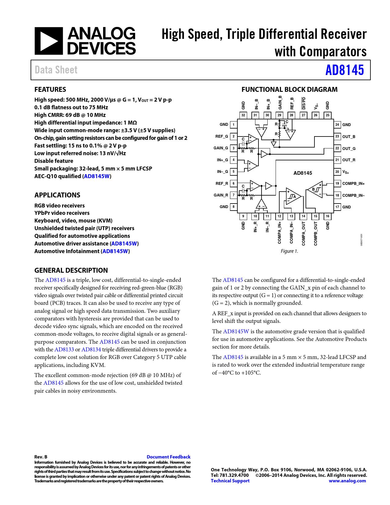 Datasheet AD8145 Analog Devices, Версия: B