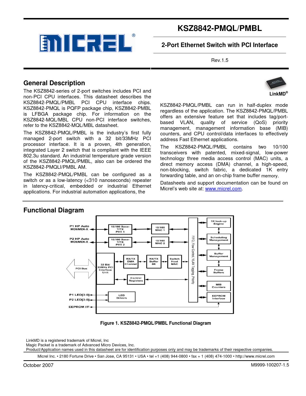 Datasheet KSZ8842-PMQL, KSZ8842-PMBL Microchip
