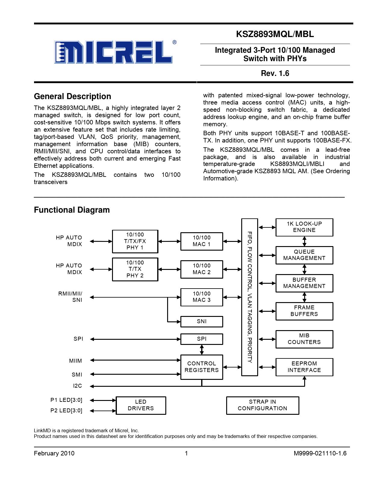 Datasheet KSZ8893MQL, KSZ8893MBL Microchip