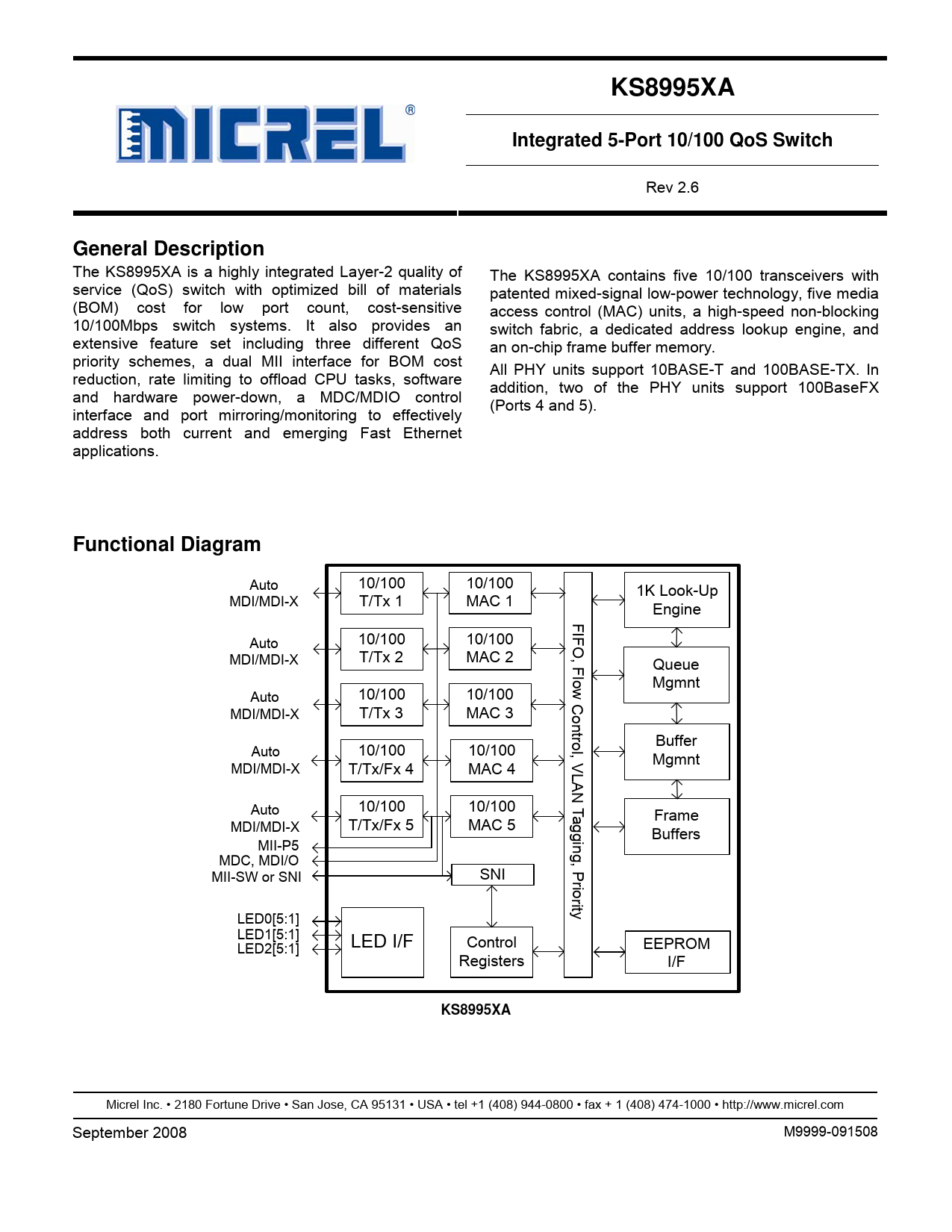 Datasheet KS8995XA Microchip