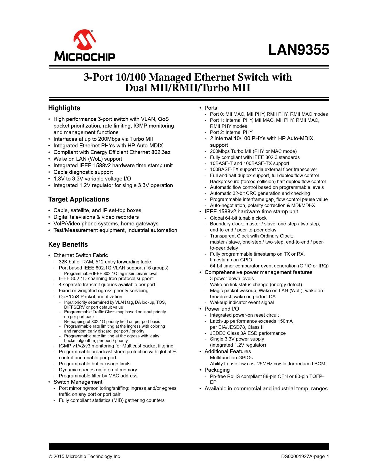 Datasheet LAN9355 Microchip