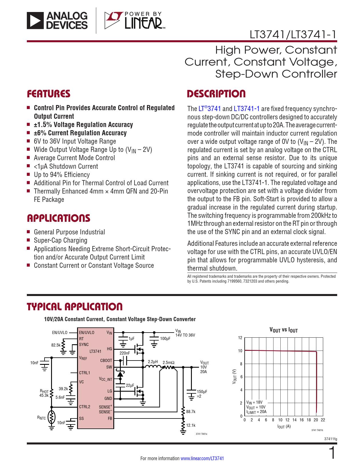 Datasheet LT3741, LT3741-1 Analog Devices