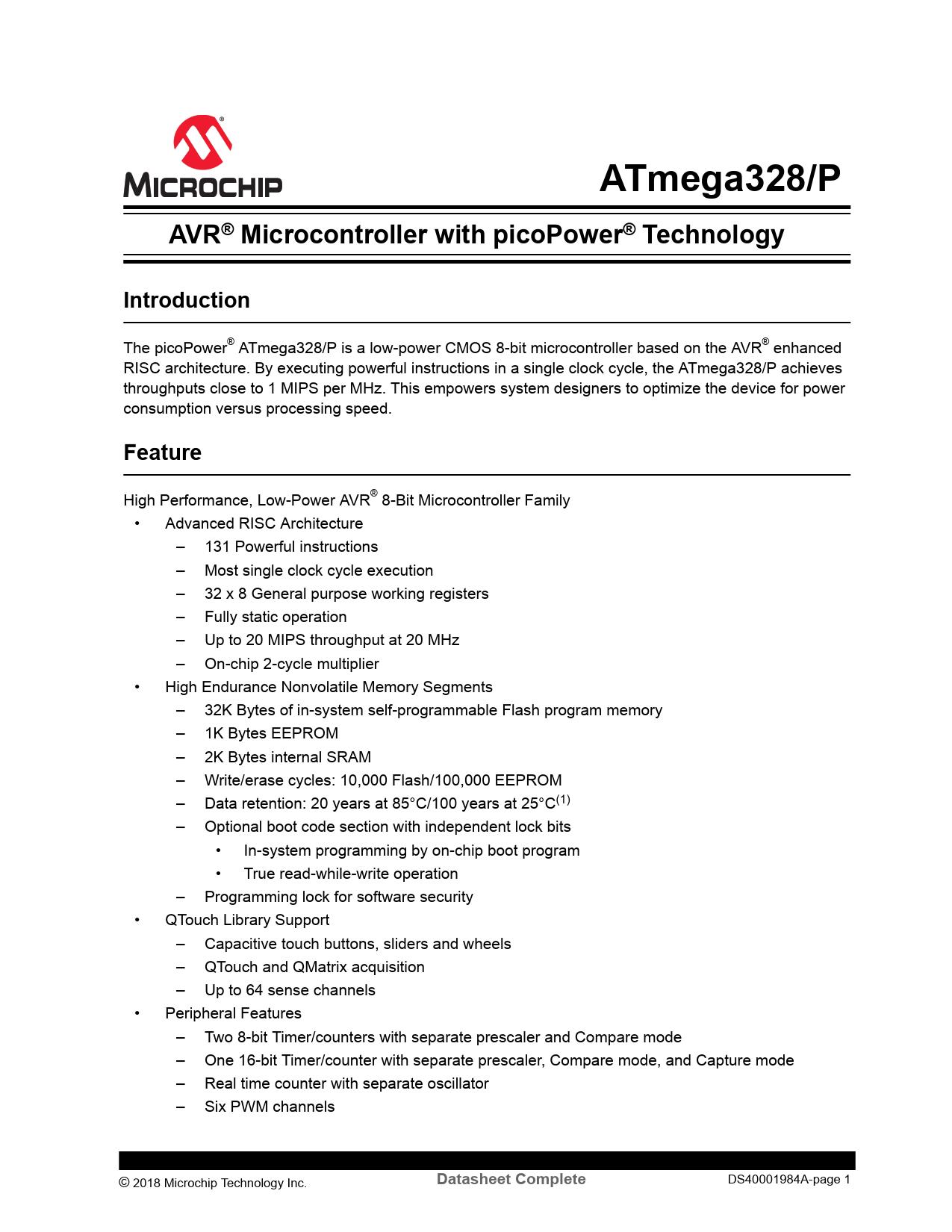 DataSheet ATmega328/P Atmel