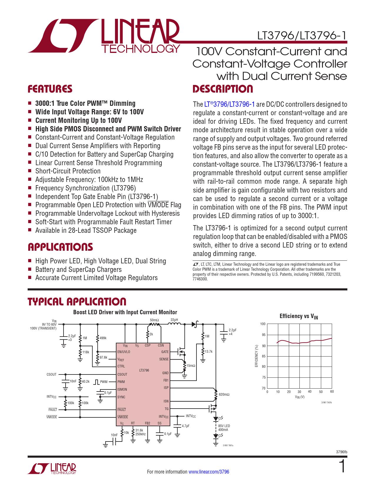 Datasheet LT3796, LT3796-1 Analog Devices