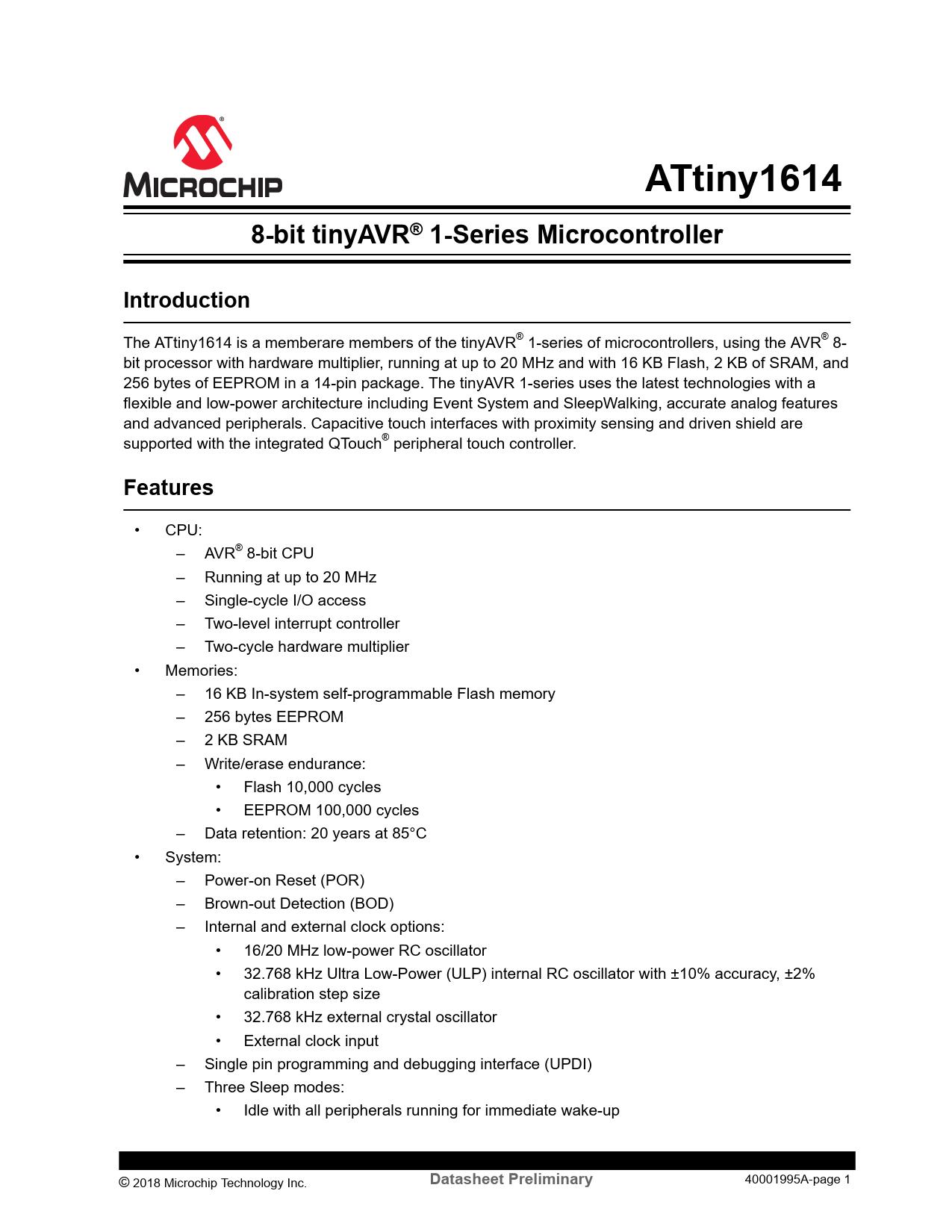 Datasheet ATtiny1614 Microchip