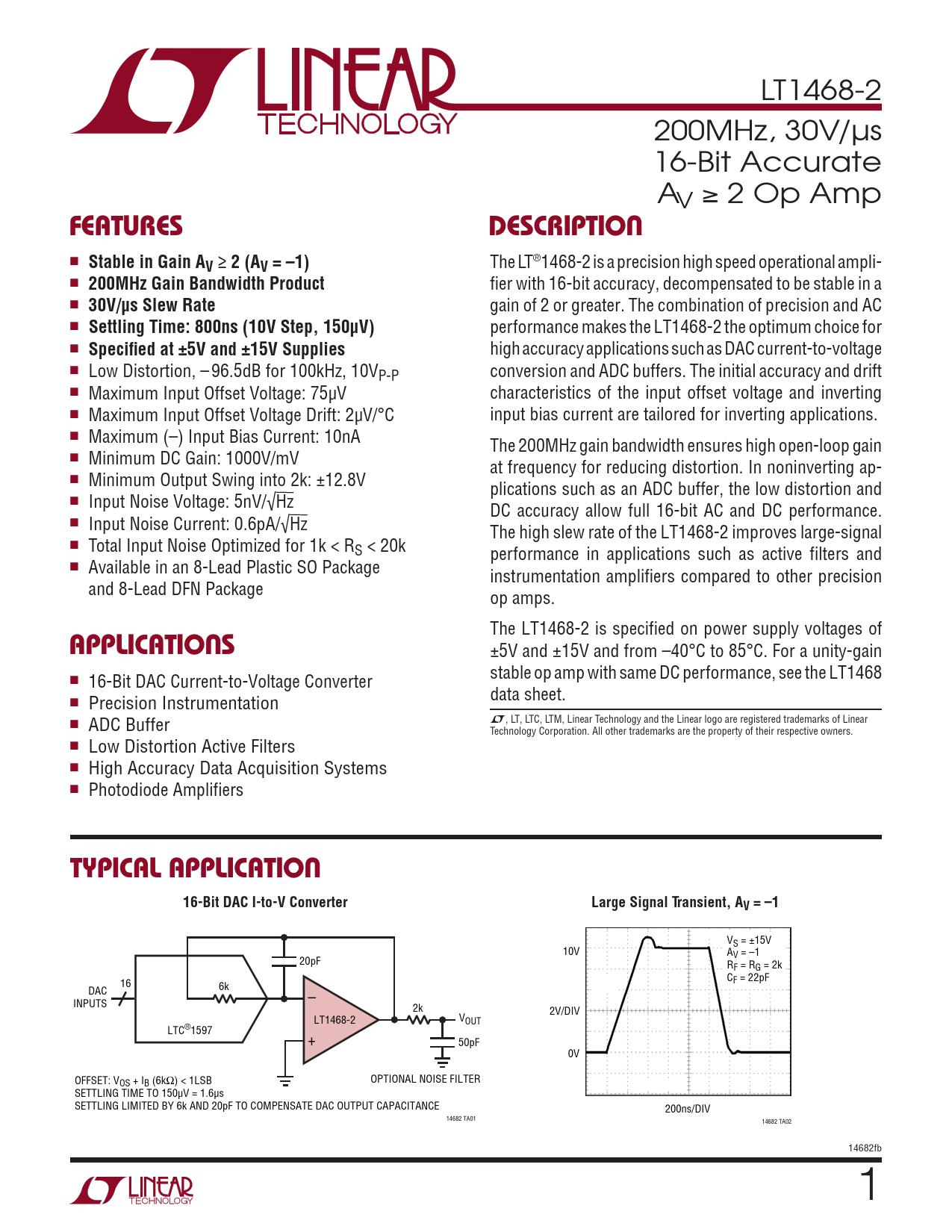 Datasheet LT1468-2 Analog Devices