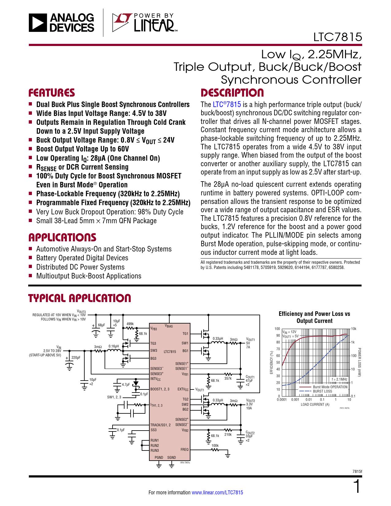 Datasheet LTC7815 Analog Devices