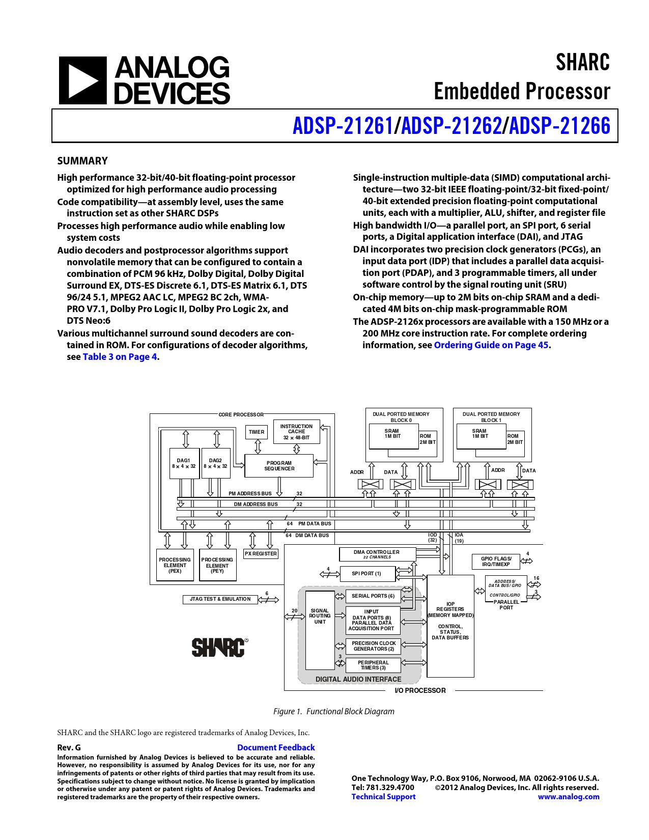 Datasheet ADSP-21261, ADSP-21262, ADSP-21266 Analog Devices, Версия: G