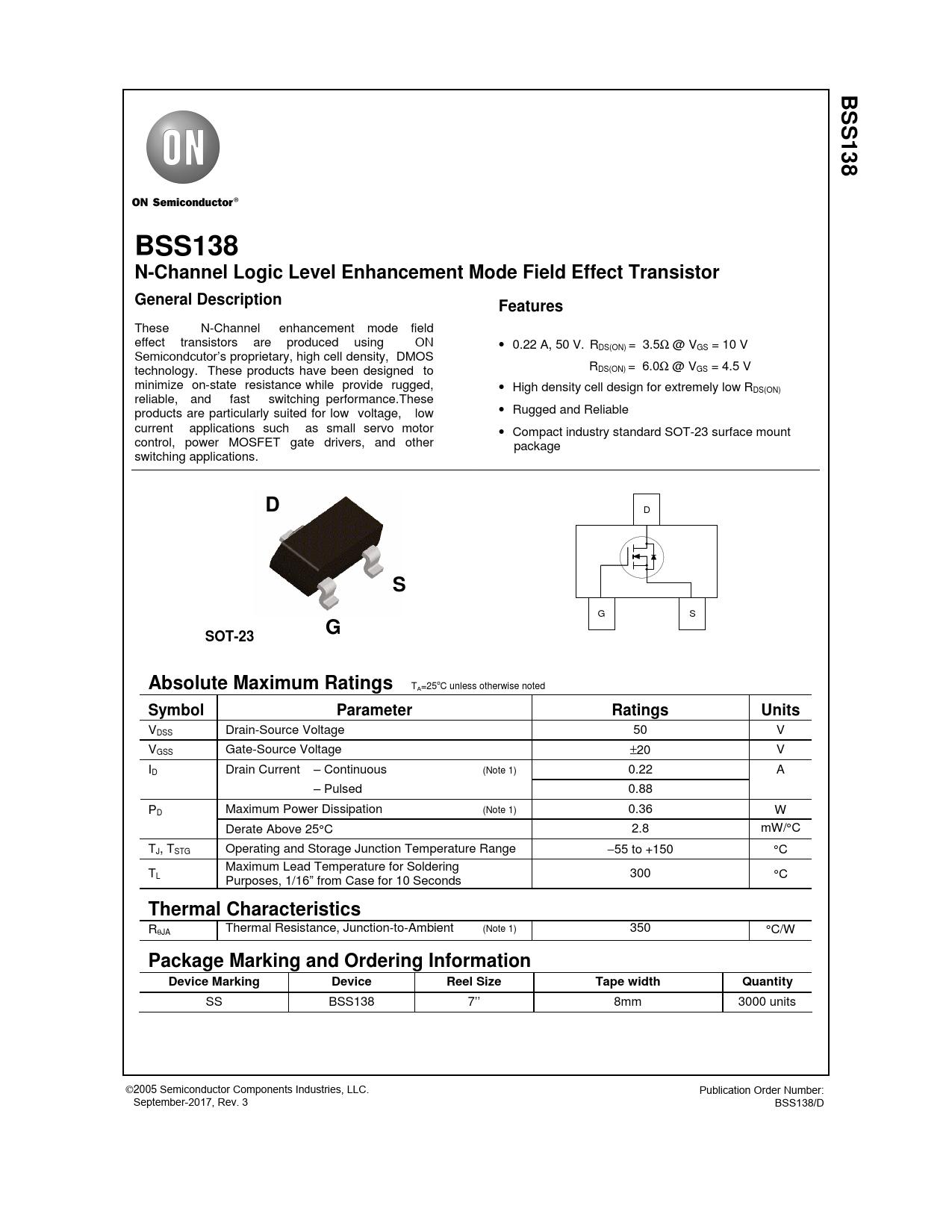 Datasheet BSS138 ON Semiconductor, Версия: 3