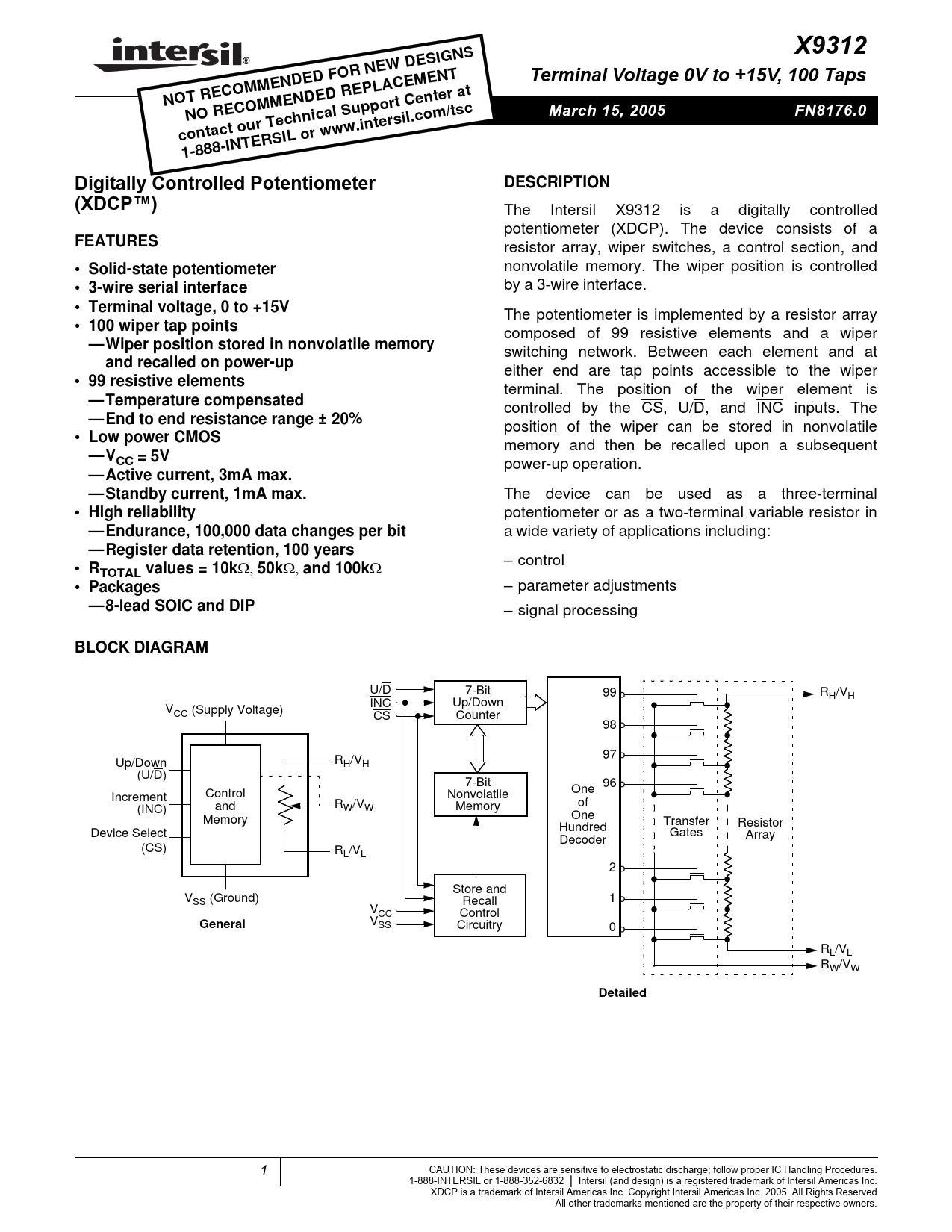 Datasheet X9312 Intersil