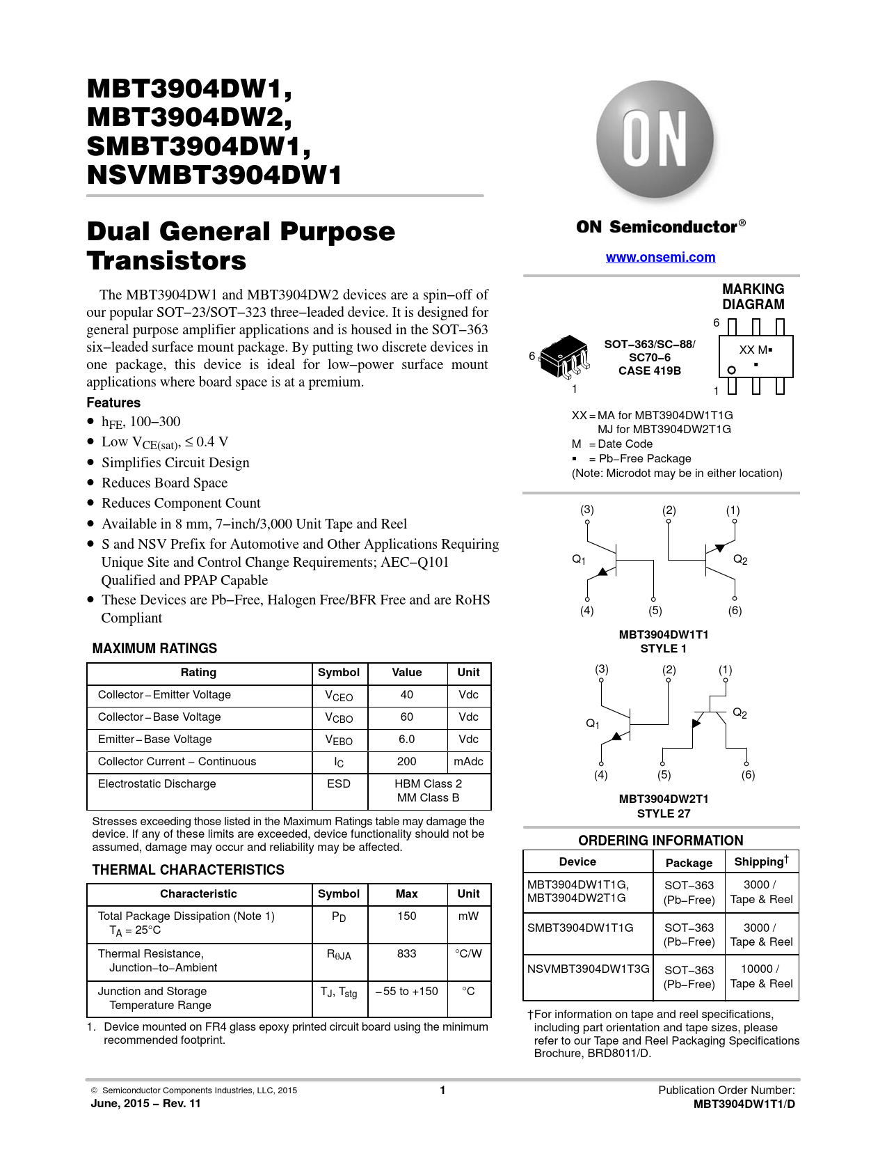 Datasheet MBT3904DW1, MBT3904DW2, SMBT3904DW1, NSVMBT3904DW1 ON Semiconductor, Версия: 11