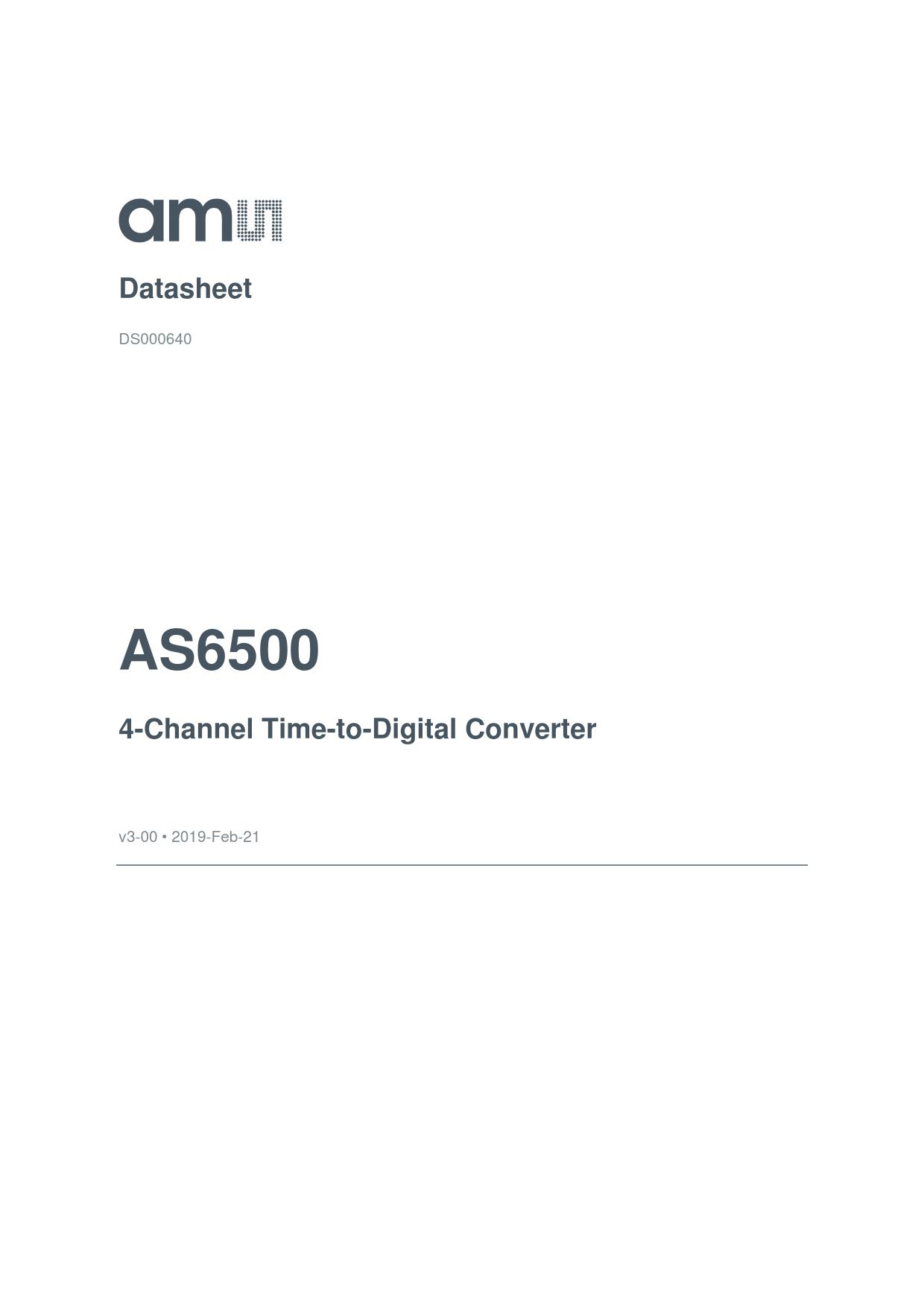 Datasheet AS6500 AustriaMicroSystems, Версия: 3-00