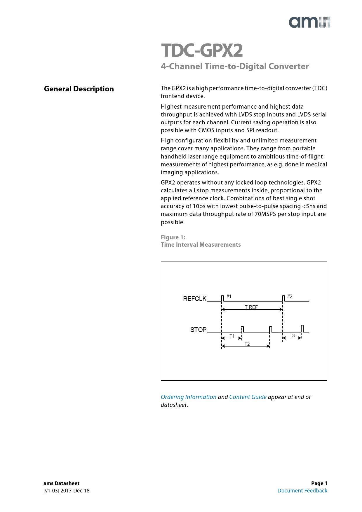 Datasheet TDC-GPX2 AustriaMicroSystems, Версия: 1-03