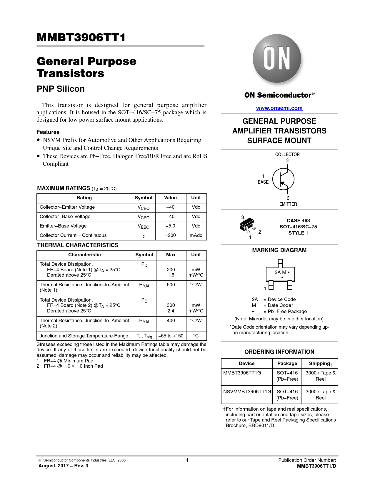 Datasheet MMBT3906T ON Semiconductor, Revision: 3