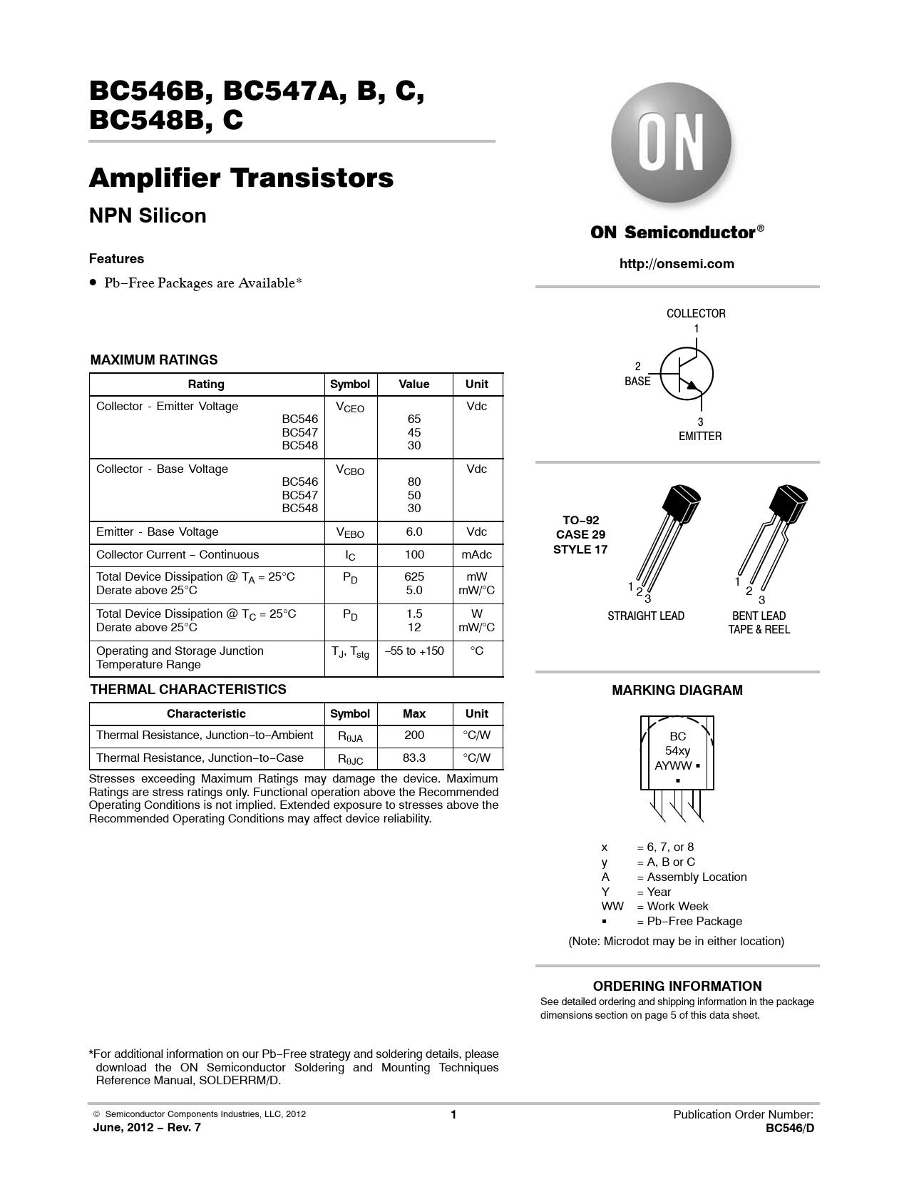 Datasheet BC546B / BC547A, B, C / BC548B, C ON Semiconductor, Revision: 7