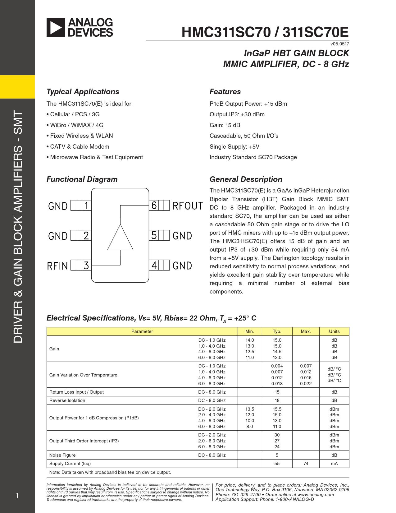 Datasheet HMC311SC70 / 311SC70E Analog Devices