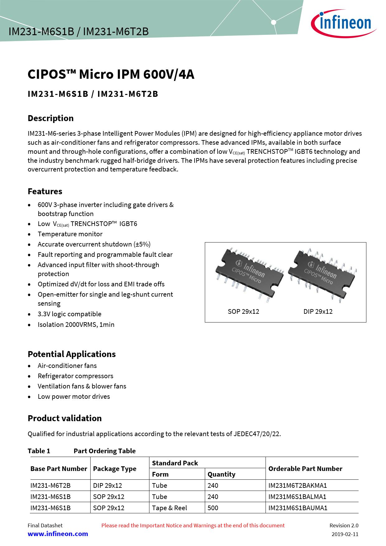 Datasheet IM231-M6S1B / IM231-M6T2B Infineon, Revision: 02_00