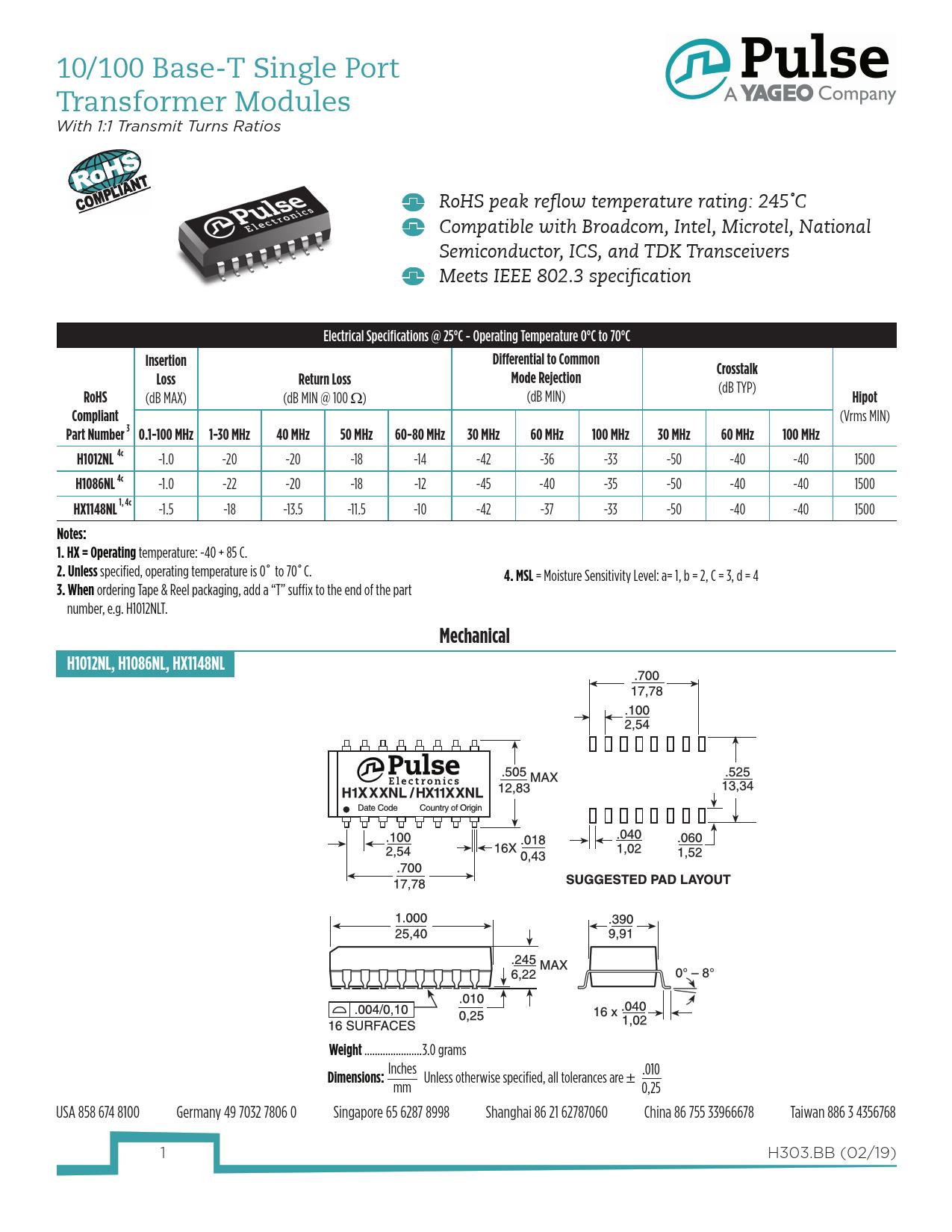 Datasheet H1012NL, H1086NL, HX1148NL Pulse Electronics