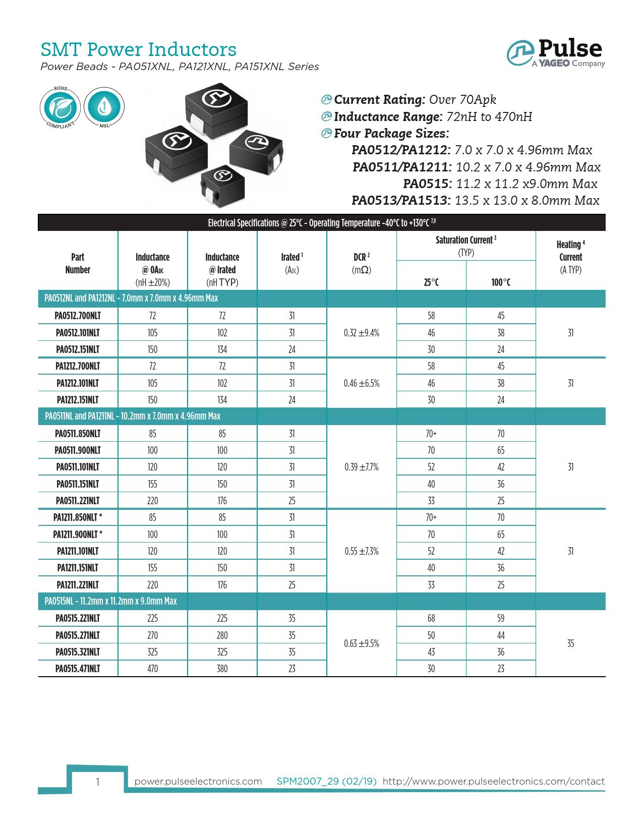 Datasheet PA051XNL, PA121XNL, PA151XNL Pulse Electronics