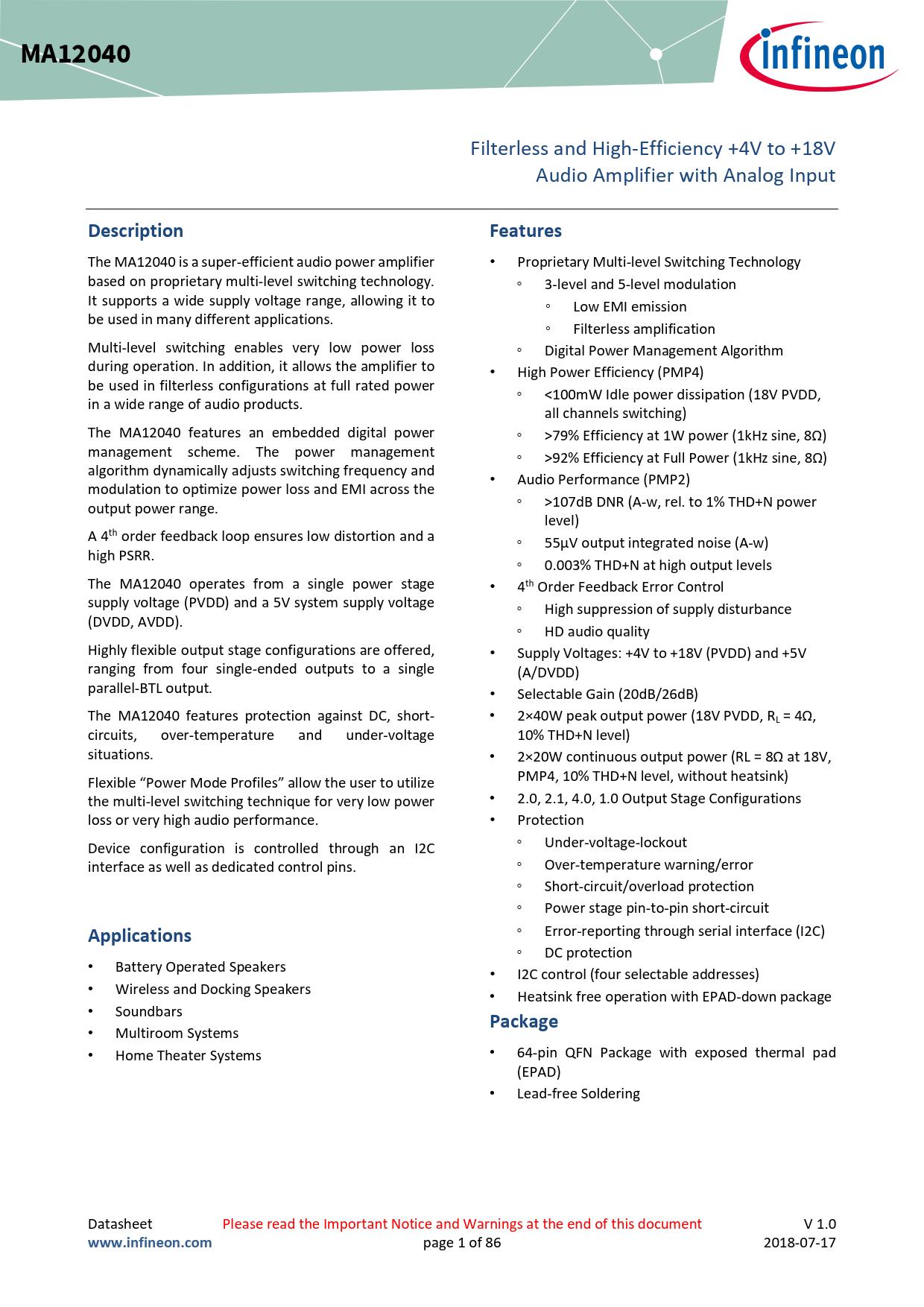 Datasheet MA12040 Infineon, Версия: 01_00