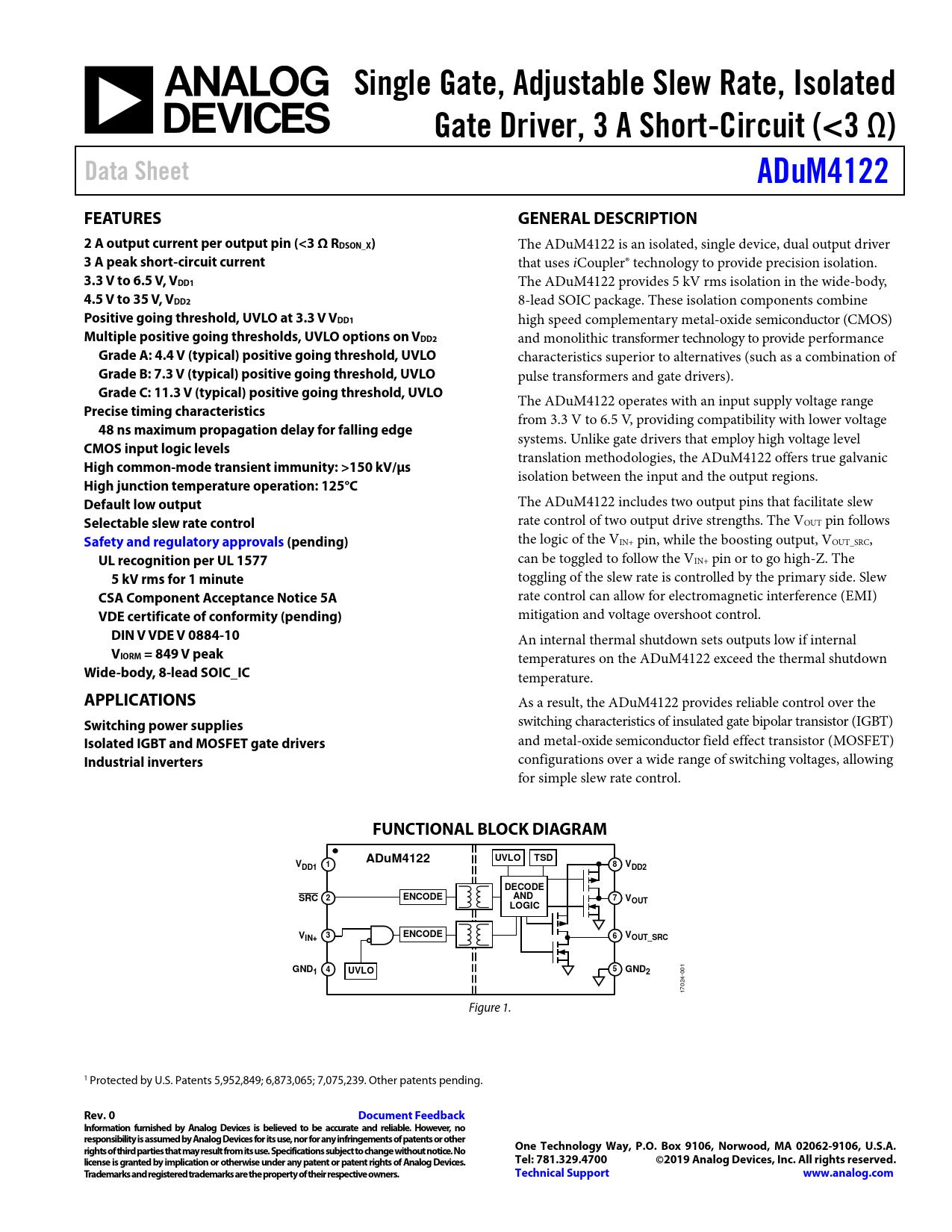 Datasheet ADuM4122 Analog Devices