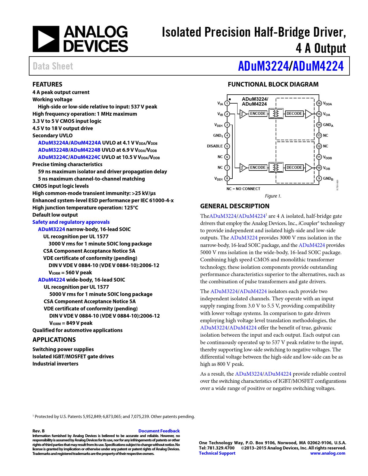 Datasheet ADuM3224/ADuM4224 Analog Devices, Revision: B
